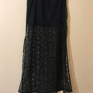 Black Lace Maxi Skirt with Slits